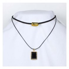 A-Tattoo-010 Two Layers Choker Square and Gold Charm Necklace