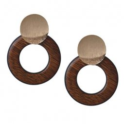 A-FX- E6129 Wooden Texture Hoop Golden Plates Attached Earstuds