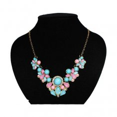 A-FF-NJ-06 Blue & Pink Beads Elegant Petite Statement Necklace