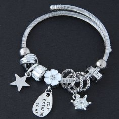 C0150805198 White Flower Star Crown Beads Silver Charm Bracelet