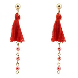 P128071 Red Tassel Crystal Bead Korean Inspired Earstuds