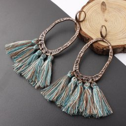 A-SD-XL0205mix2 Mix Green Tassel Oval Vintage Huggy Earrings