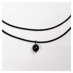 A-Tattoo-015 Single Choker Single Black Bead Necklace Trendy Sty