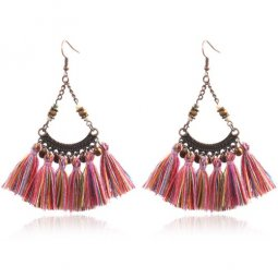 A-HH-HQEF1472co Colourful Rainbow Vintage Tassel Hook Earrings