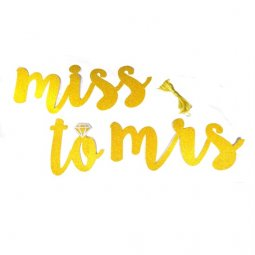 L-UN-004 Miss To Mrs Wording Party Banner Glitter Gold Hang On
