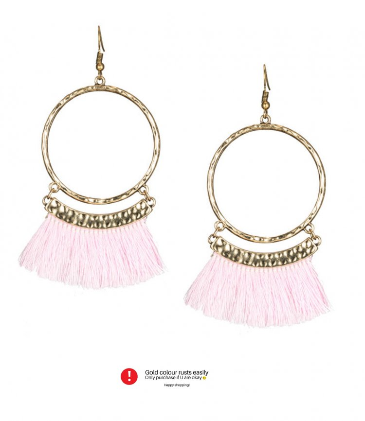 76fcfeb8e52 A-KJ-E020343 Round Circle Gold Elegant Pink Tassel Hook Earrings ...