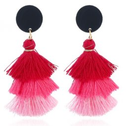 A-FX-E6300Pink Pink Red 3 Layers Tassel Earstuds Wholesale Shop