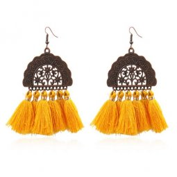 A-HH-HQEF1028yellow Yellow Vintage Moon Tassels Hook Earrings