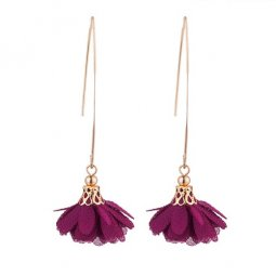 A-KJ- E020588purple Purple Flower Pretty Korean Hook Earrings