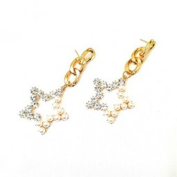 A-SD-SD1003- Gold Classic Diamond Pearl Star Earring