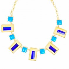 a-un-003 Turquoise and Blue Gems Gold Frames Statement Necklaces