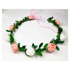 A-LB-010peachmix Flowergirl Crown Peach White Roses Flora Headba