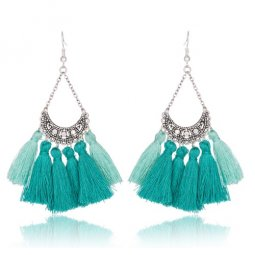 A-KJ-E020270g Turquoise Mint Green Antique Silver Tassel Earring