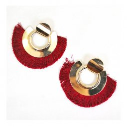 A-SD-XL0121maroon Maroon Tassel Dark Red Wide Gold Earrings