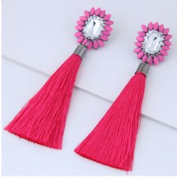 C12012124 Pink Rectangle Crystal Spike Tassel Earstuds