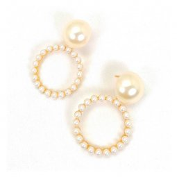 A-JD-ER0466 Charming Pearl Beads Hoops Fancy High Class Earrings