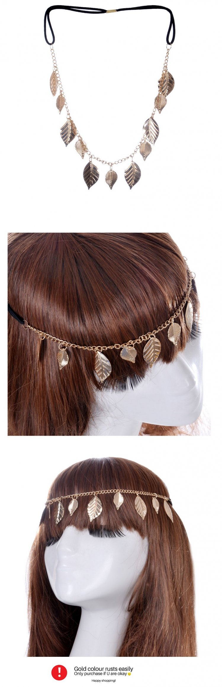 A-GH-FD000151 Gold Leaves Charm Trendy Headchains