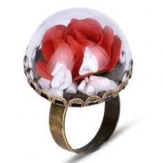 A-HP-17031602r Red Rose Beauty & The Beast Vintage Ring
