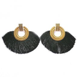 A-SD-XL113251-2 Black Classic Square Circle Statement Earstuds