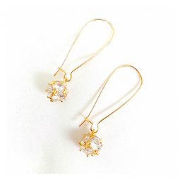 A-GH-ONNUTO-cryst Crystal Facets Korean Big Hook Earrings Simple
