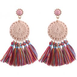 P130503 Colourful Clothing Round Tassel Korean Inspired Earstuds