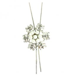 A-ZT-NL194 Snowflake With Pearl White Beads Silver Long Necklace