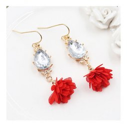 A-HH-HQES-001(red) Dangling Red Flower Crystal Bead Hook Earring
