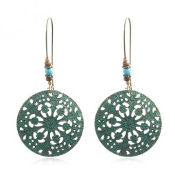 A-HH-HQEF-026 Vintage Turquoise Flora Pattern Round Hook Earring