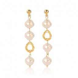 A-MY-2308 Dangling Faux Pearl Bead In Gold Modern Earstuds