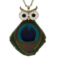 A-HH-HQNE-027 Peacock Tassel Big Eye Owl Long Necklace