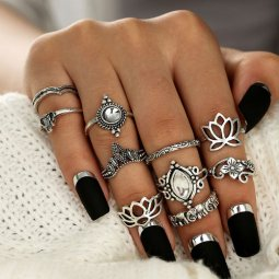 P132712 Silver 10 Pcs Set Crunky Bohemian Rings Wholesale