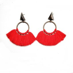 A-hh-HQEF-770 red circle arrow hook tassel earrings