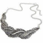 C09033644 Antique silver leaves crystals choker necklace shop