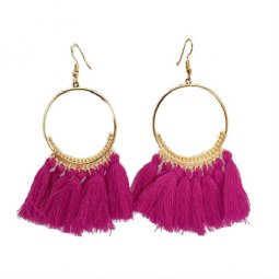 A-SD-violet Violet Dangling Tassel Gold Loop Hook Earrings Shop