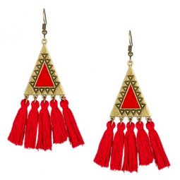 A-KJ-E020325 Red Vintage Triangle Hook Tassel Earrings Malaysia