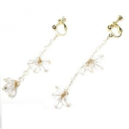 A-QK-0476 DANGLING WHITE CRYSTALWITH EARCLIP KOREAN STYLE