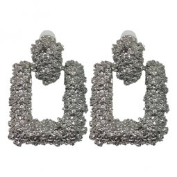 A-QD-E3513SILVER Silver Square Textured Earstuds