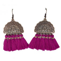 A-HH-HQEF1028 Purple Vintage Moon Tassels Hook Earrings