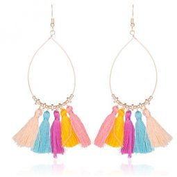 A-CD-ER-196cc Colourful Rainbow Oval Beads Tassel Hook Earrings