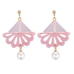 P131367 Pink Flower Triangle Pearl Tangling Cute Korean Earstuds