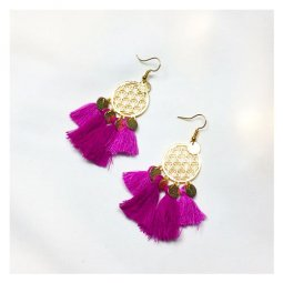 A-SD-XL0235 Magenta Threads Golden Patterned Circle Earrings
