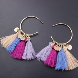 A-SD-EH525sum Elegant Dangling Caharms Colourful Tassel Earstuds
