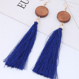 C090433219 Blue Tassel Wooden Bohemian Arabian Earrings Shop
