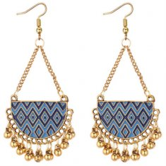 P131306 Two Tone Blue Half Sphere Gold Bells Hook Earrings