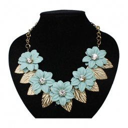 A-FF-fl87dustyg Dusty Green Crystal Bead Spring Flower Necklace