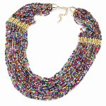 C014020513 Colourful beads gold choker necklace accessories shop