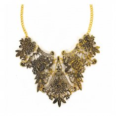 A-CJ-9200 Classic Gold Vintage Indonesian Floral Statement Neckl
