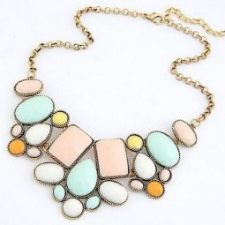 A-HY-N185 Vintage Spring Colourful Bead Choker Necklace Malaysia