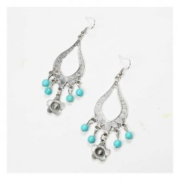 A-UN-007sil Blue Beads Silver Antique Inspired Flower Carving Ea