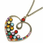 C11040253 Vintage heart colourful crystals long necklace KL